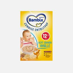 【荷兰直邮&免税包邮】牛栏旗下Bambix婴幼儿阳光早餐8谷物米糊 香草味(含钙铁镁锌维生素丰富纤维 通便饱腹)12+ 250g
