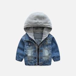 韩国直邮【包邮包税】OZKIZ男童假两件连帽牛仔夹克